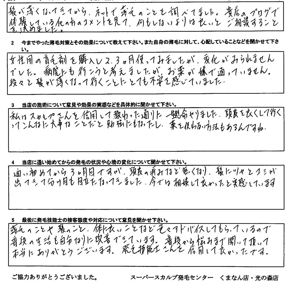 鹿児島FAGA治療アンケート